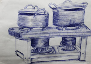 Cooking Stove with Pots Shades