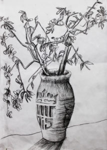Vase with fowers BW